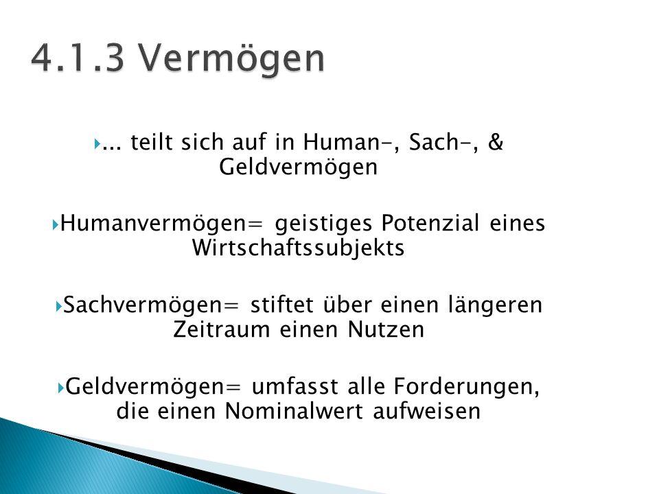 4.1.3 Vermögen ... teilt sich auf in Human-, Sach-, & Geldvermögen