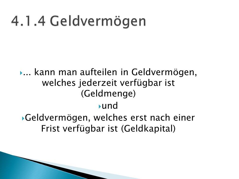 4.1.4 Geldvermögen ... kann man aufteilen in Geldvermögen, welches jederzeit verfügbar ist (Geldmenge)