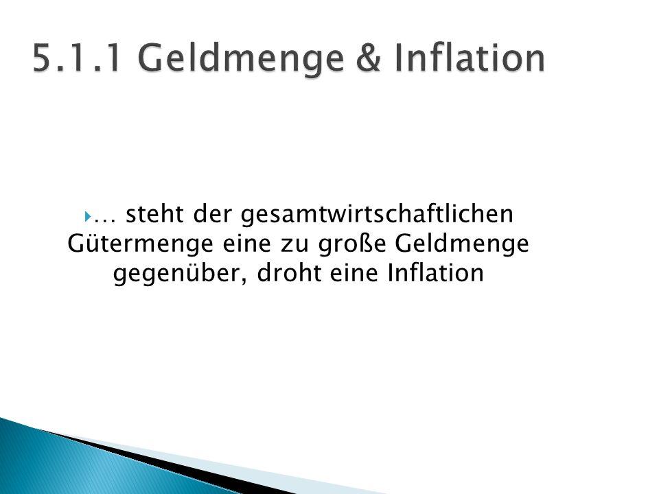 5.1.1 Geldmenge & Inflation … steht der gesamtwirtschaftlichen Gütermenge eine zu große Geldmenge gegenüber, droht eine Inflation.