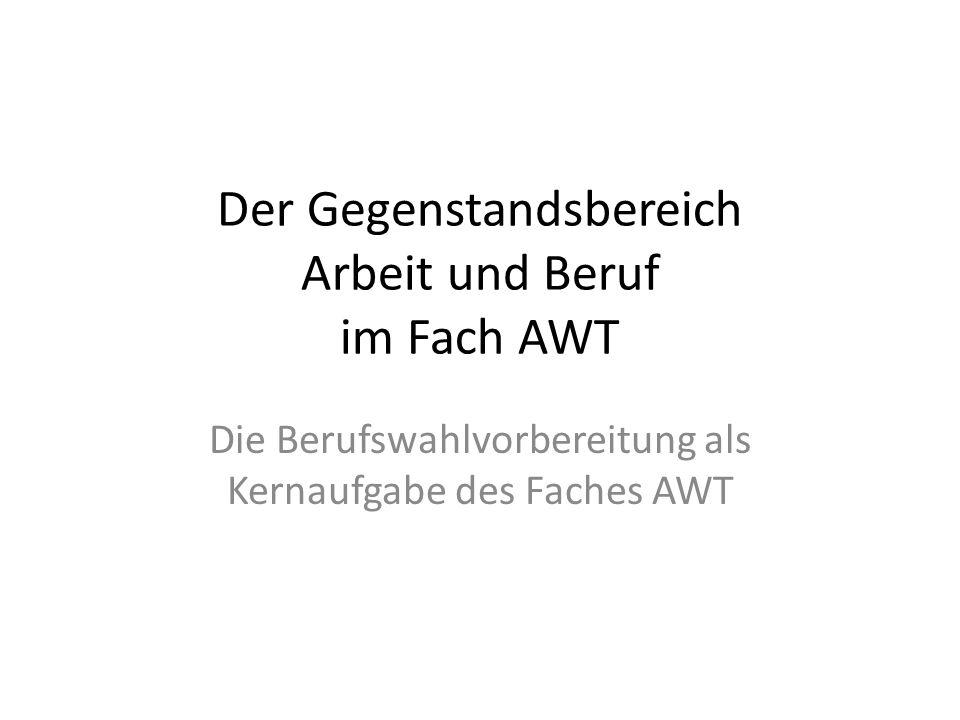 Der Gegenstandsbereich Arbeit und Beruf im Fach AWT
