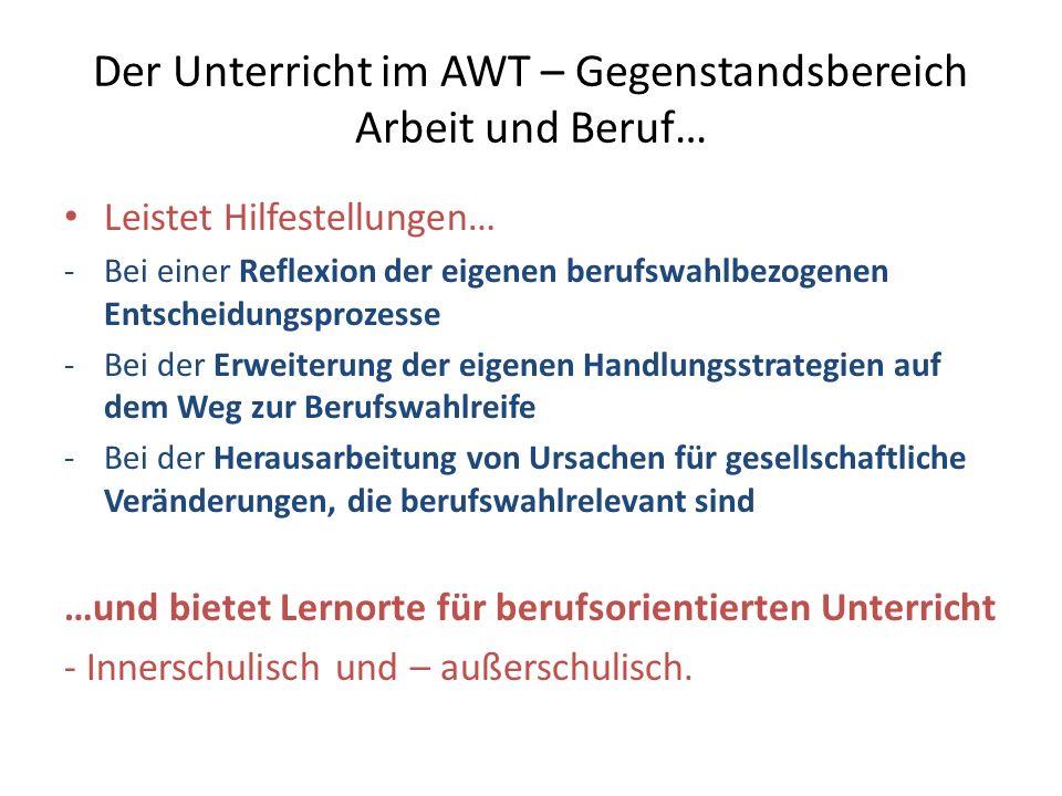 Der Unterricht im AWT – Gegenstandsbereich Arbeit und Beruf…