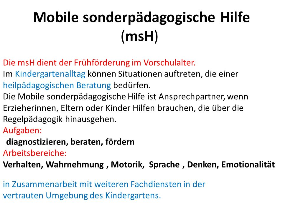Mobile sonderpädagogische Hilfe (msH)