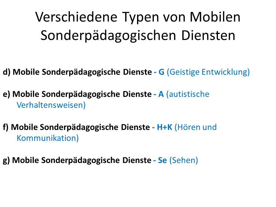 Verschiedene Typen von Mobilen Sonderpädagogischen Diensten