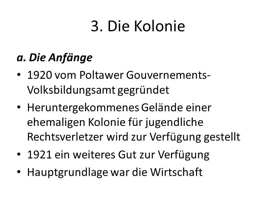 3. Die Kolonie a. Die Anfänge