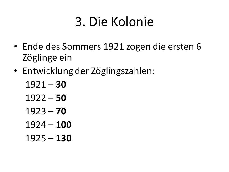 3. Die Kolonie Ende des Sommers 1921 zogen die ersten 6 Zöglinge ein