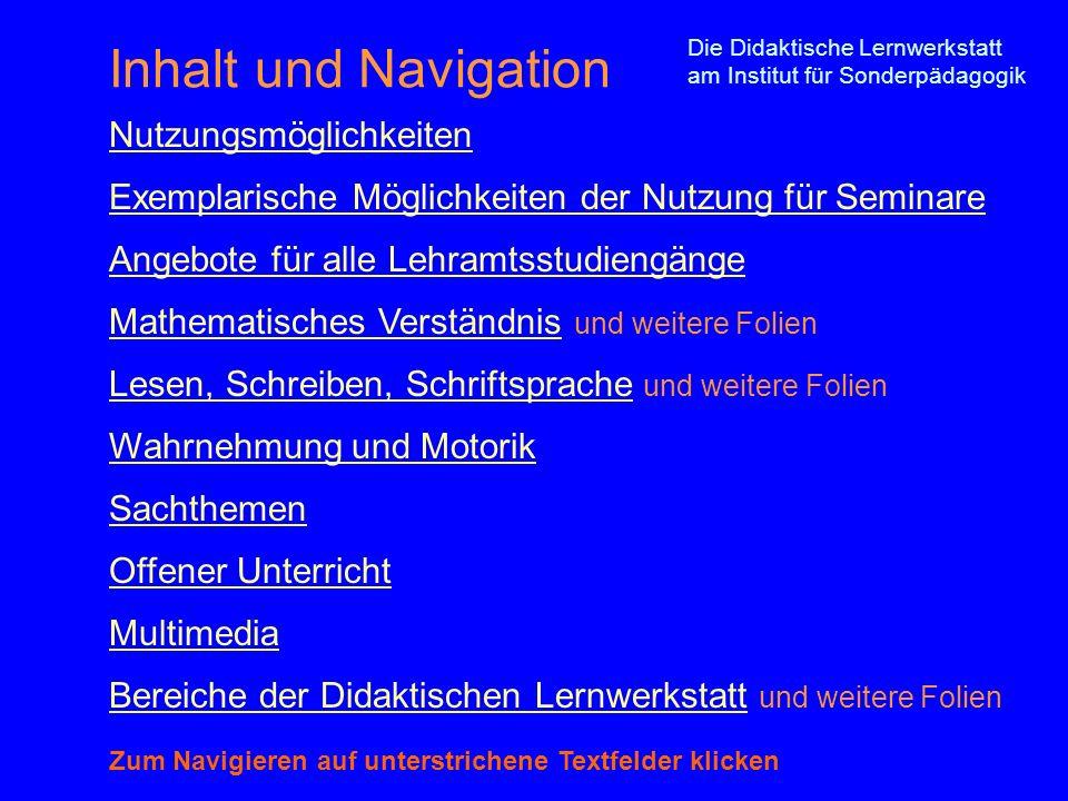 Inhalt und Navigation Nutzungsmöglichkeiten