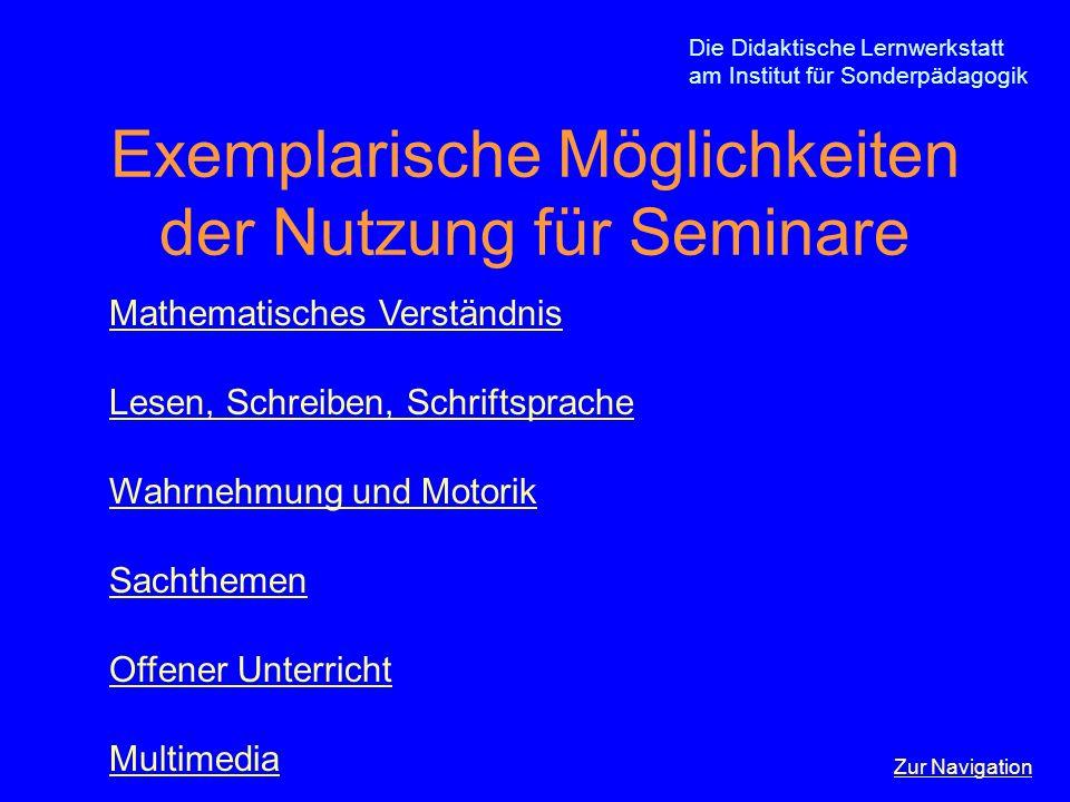 Exemplarische Möglichkeiten der Nutzung für Seminare