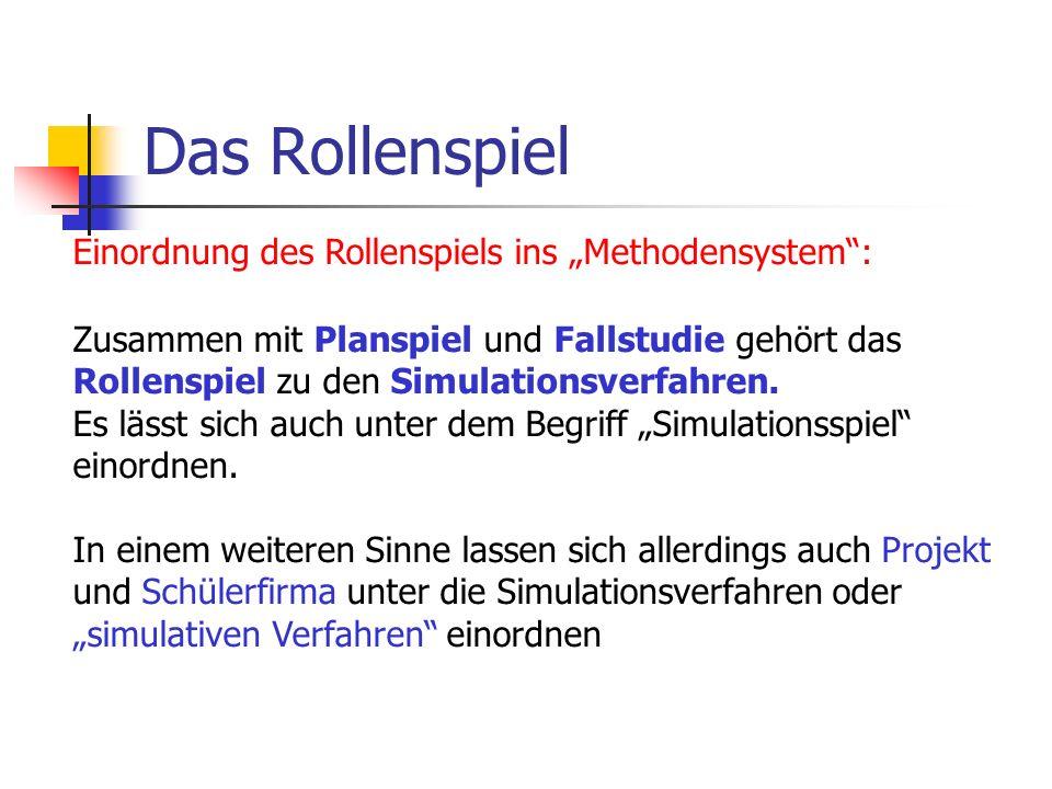 """Das Rollenspiel Einordnung des Rollenspiels ins """"Methodensystem :"""