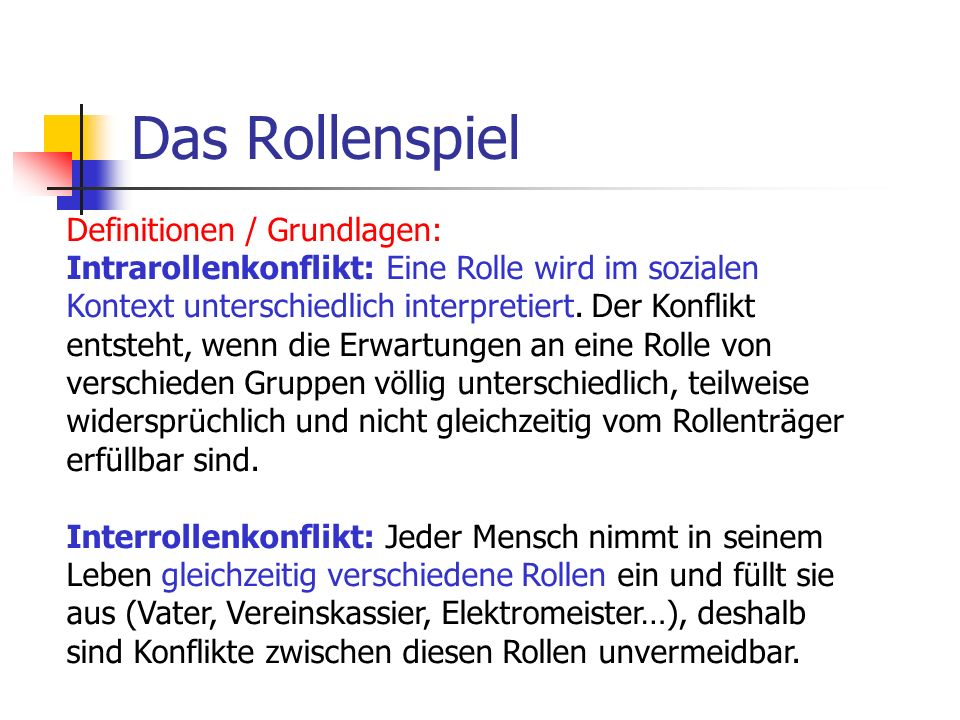 Das Rollenspiel Definitionen / Grundlagen: