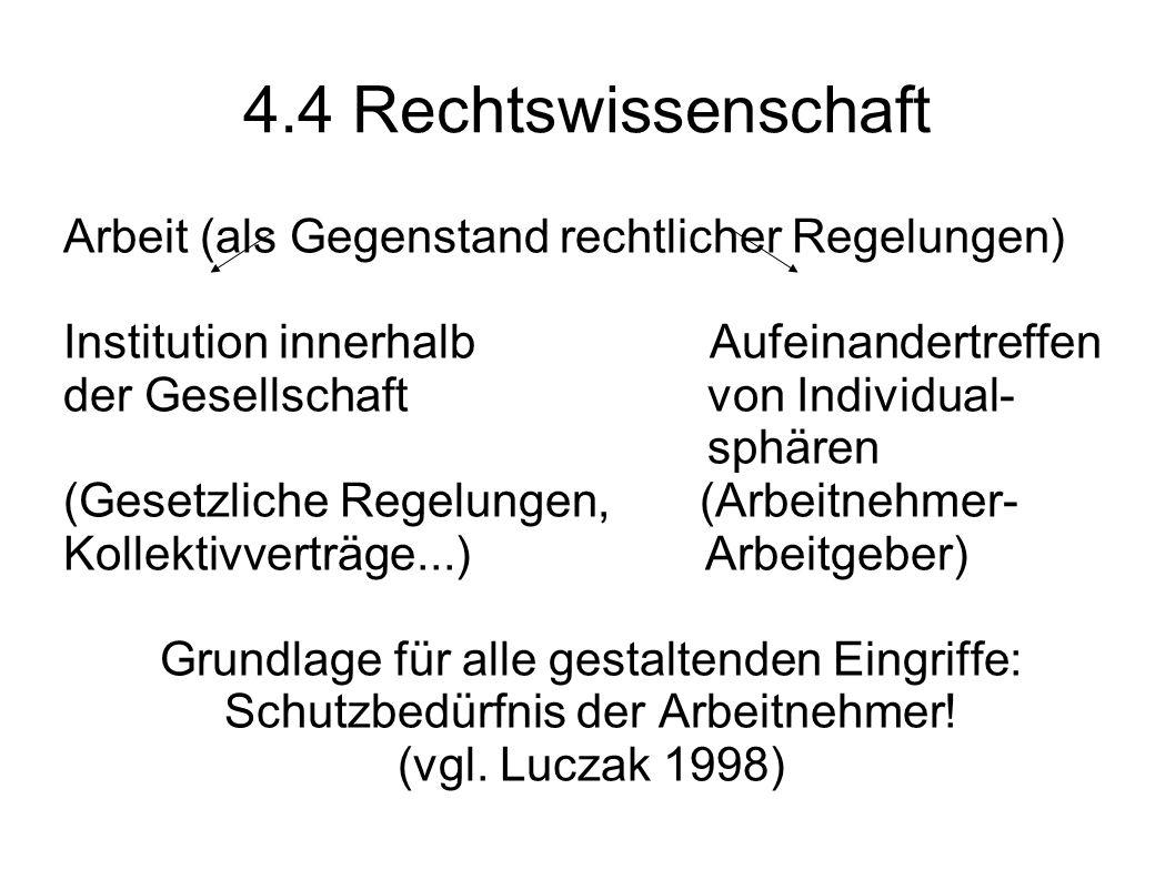 4.4 Rechtswissenschaft Arbeit (als Gegenstand rechtlicher Regelungen)