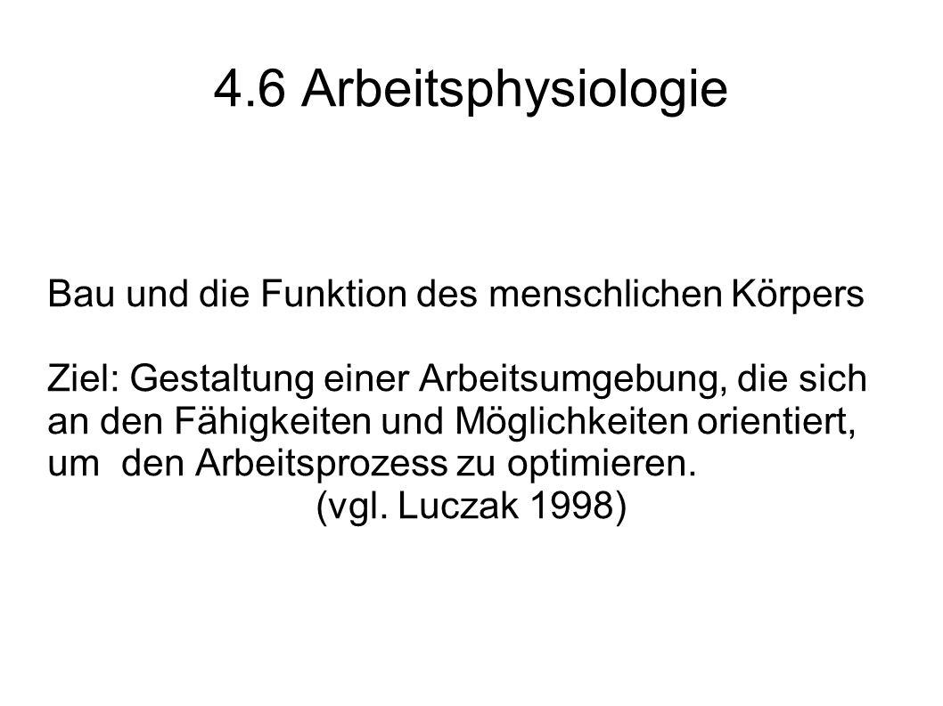 4.6 Arbeitsphysiologie Bau und die Funktion des menschlichen Körpers