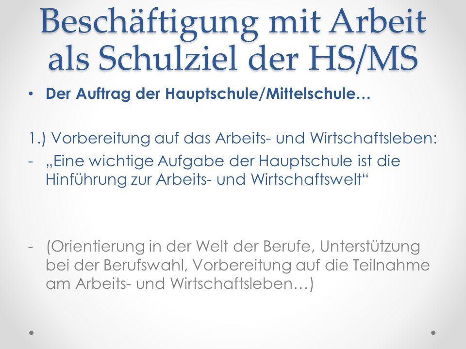 Beschäftigung mit Arbeit als Schulziel der HS/MS
