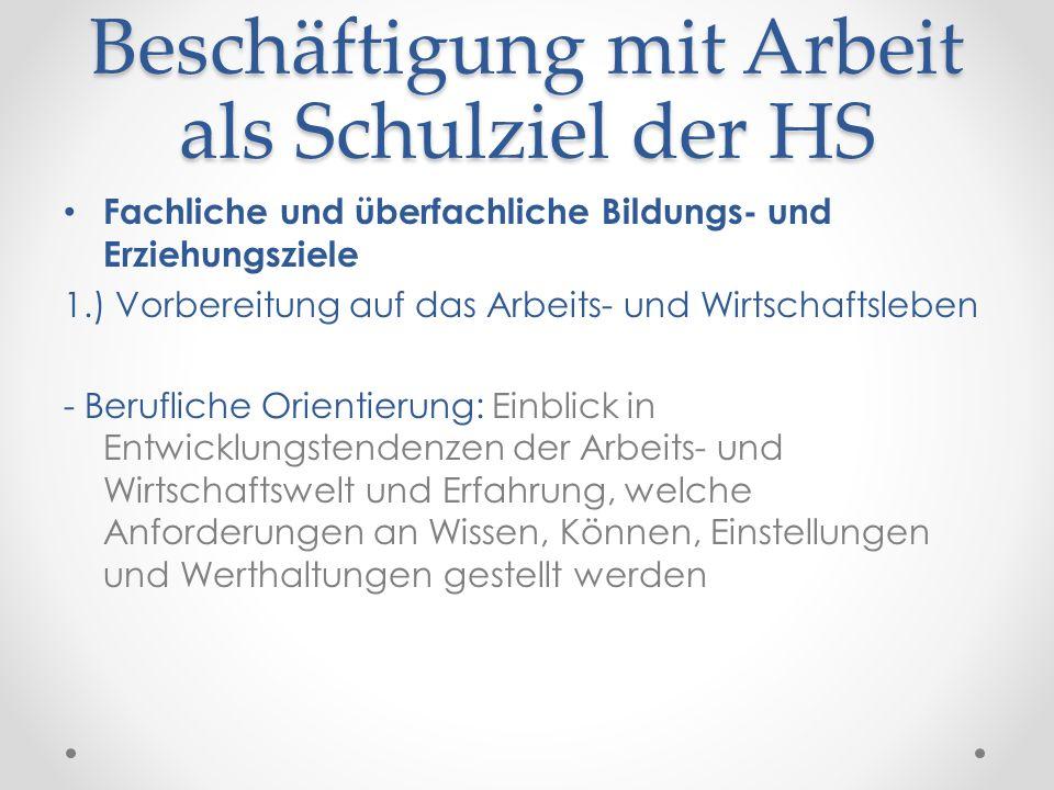 Beschäftigung mit Arbeit als Schulziel der HS