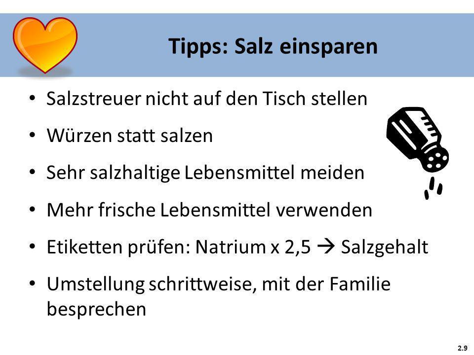 Tipps: Salz einsparen Salzstreuer nicht auf den Tisch stellen