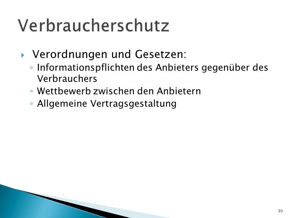 Verbraucherschutz Verordnungen und Gesetzen: