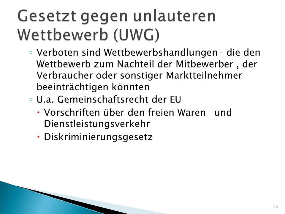 Gesetzt gegen unlauteren Wettbewerb (UWG)