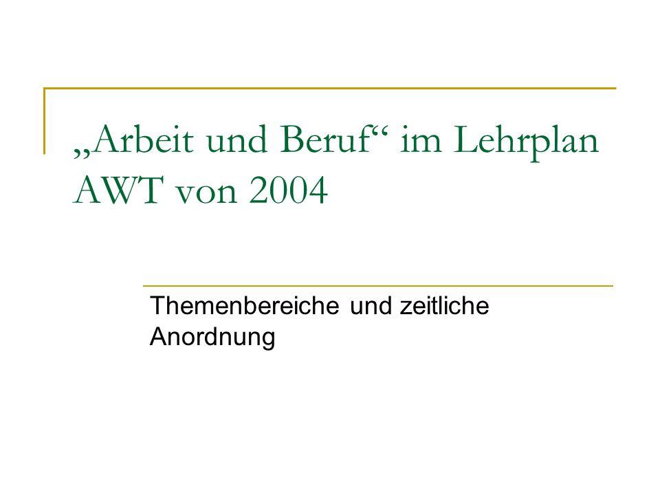 """""""Arbeit und Beruf im Lehrplan AWT von 2004"""