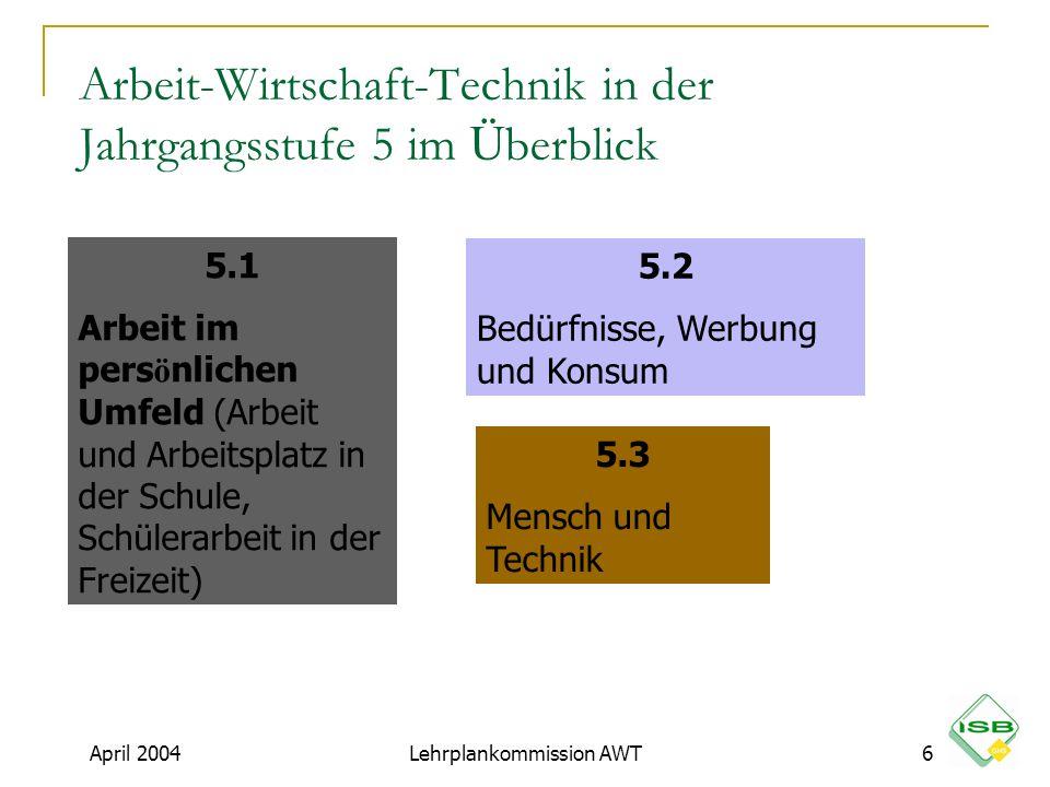 Arbeit-Wirtschaft-Technik in der Jahrgangsstufe 5 im Überblick