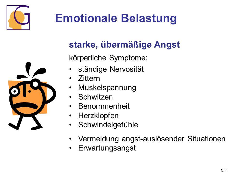 Emotionale Belastung starke, übermäßige Angst körperliche Symptome: