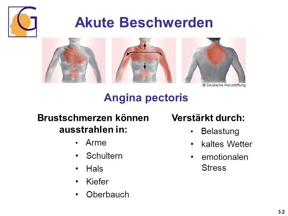 Brustschmerzen können ausstrahlen in: