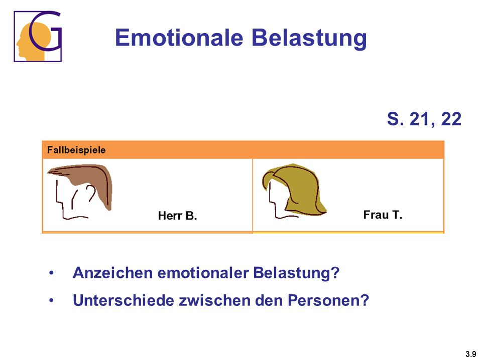 Emotionale Belastung S. 21, 22 Anzeichen emotionaler Belastung