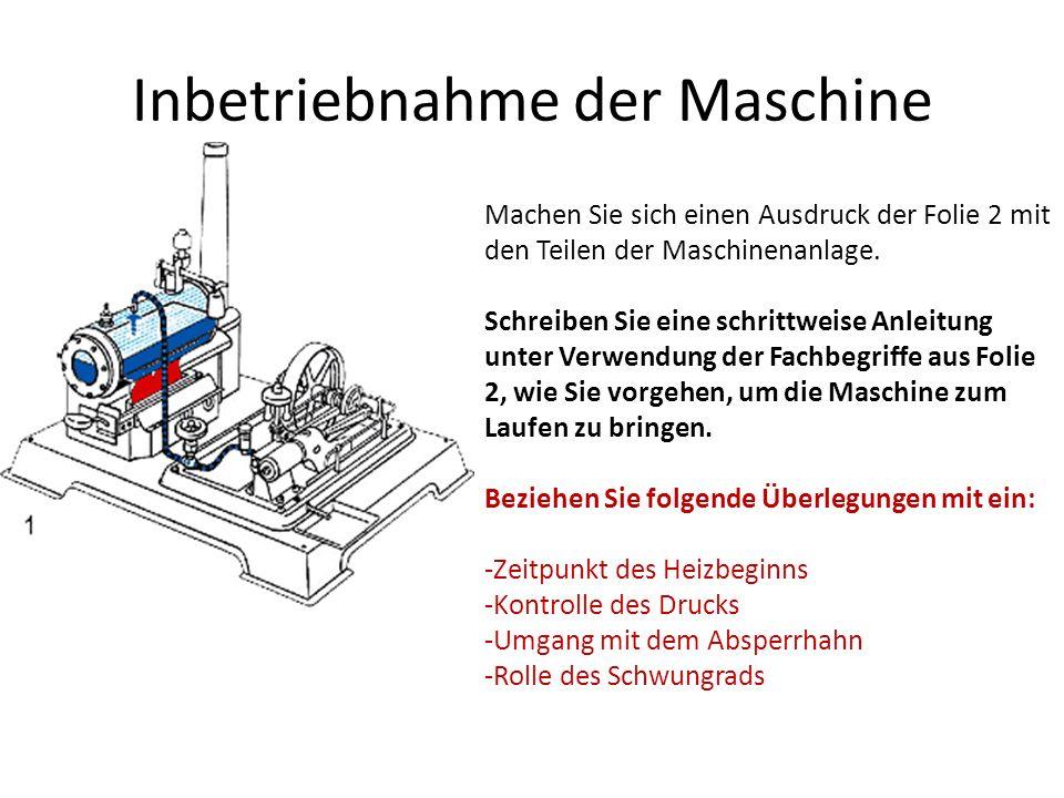 Inbetriebnahme der Maschine
