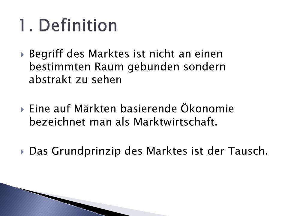 1. Definition Begriff des Marktes ist nicht an einen bestimmten Raum gebunden sondern abstrakt zu sehen.