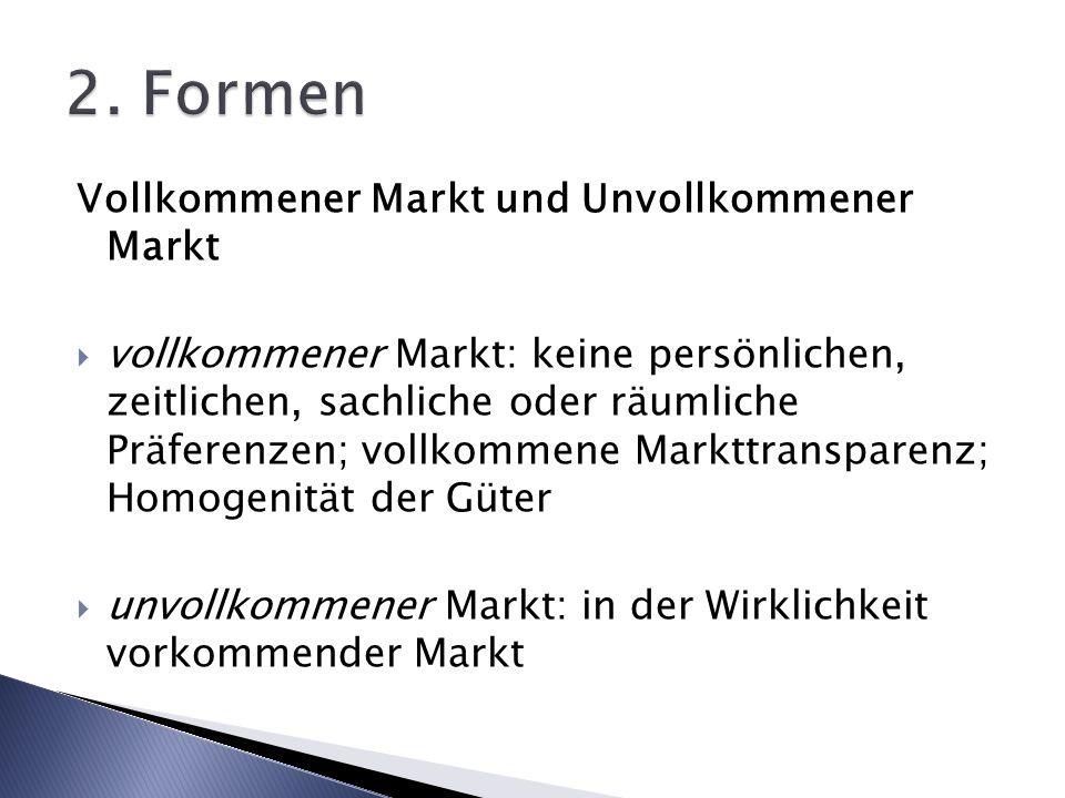 2. Formen Vollkommener Markt und Unvollkommener Markt