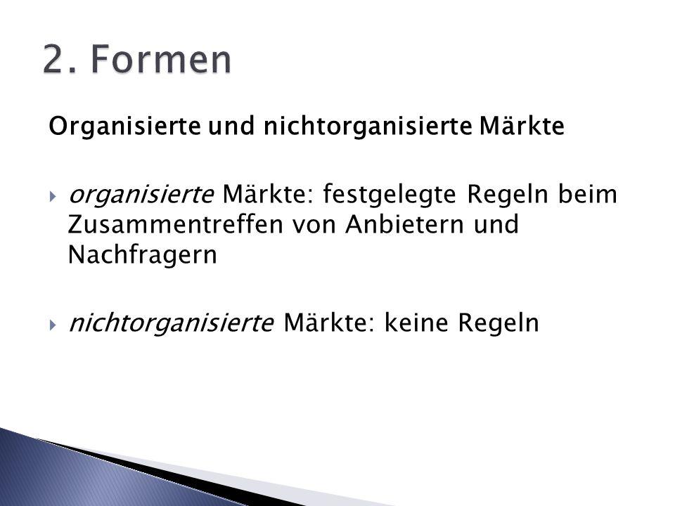 2. Formen Organisierte und nichtorganisierte Märkte