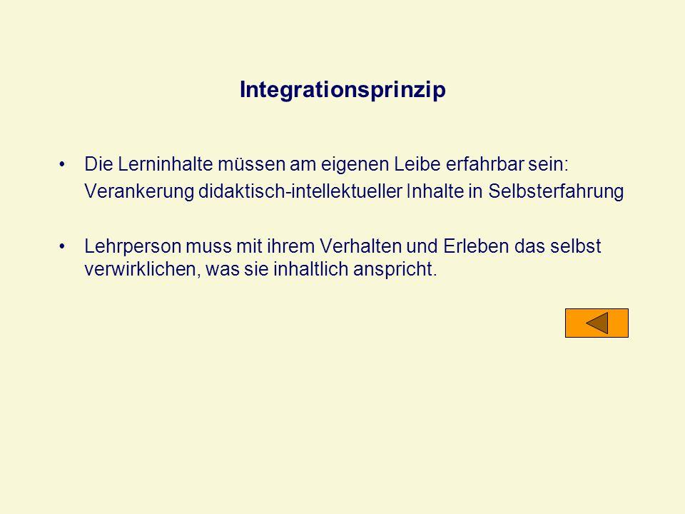 IntegrationsprinzipDie Lerninhalte müssen am eigenen Leibe erfahrbar sein: Verankerung didaktisch-intellektueller Inhalte in Selbsterfahrung.