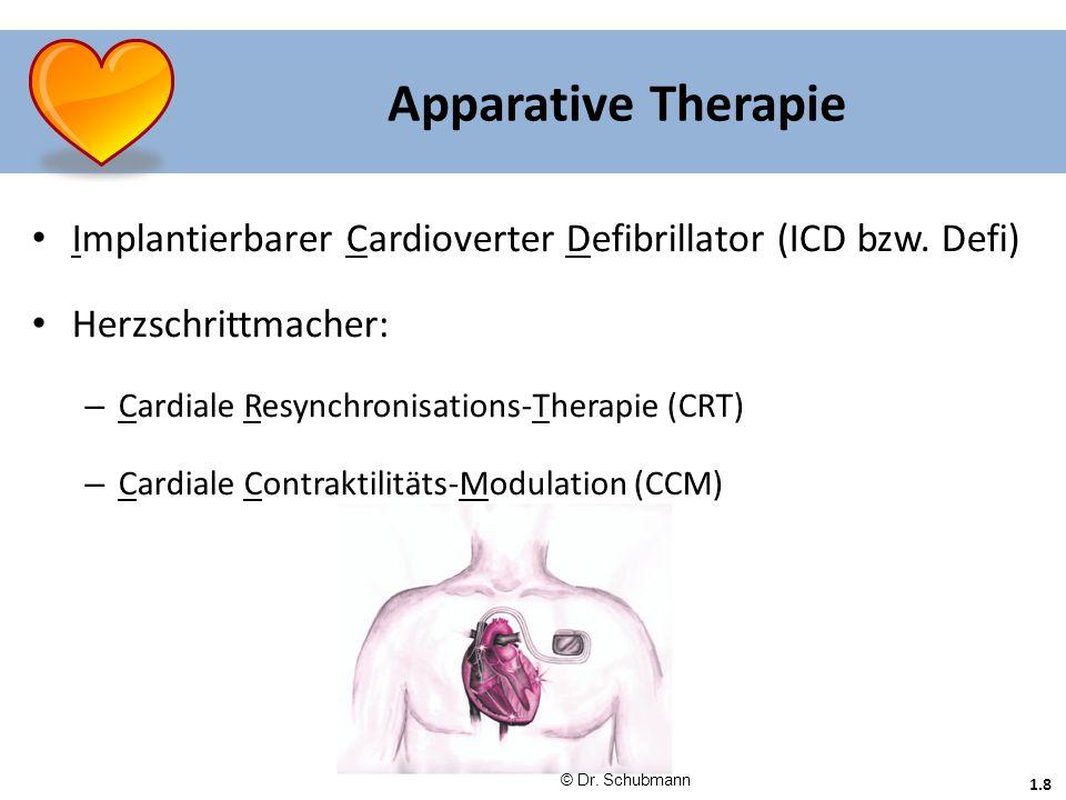 Apparative Therapie Implantierbarer Cardioverter Defibrillator (ICD bzw. Defi) Herzschrittmacher: Cardiale Resynchronisations-Therapie (CRT)