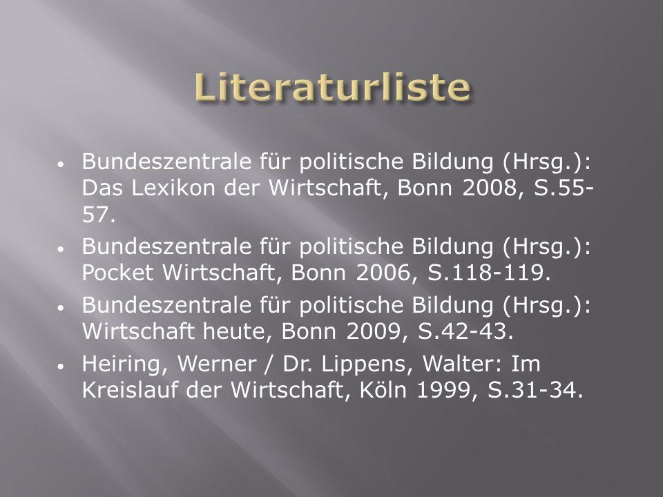 Literaturliste Bundeszentrale für politische Bildung (Hrsg.): Das Lexikon der Wirtschaft, Bonn 2008, S.55- 57.