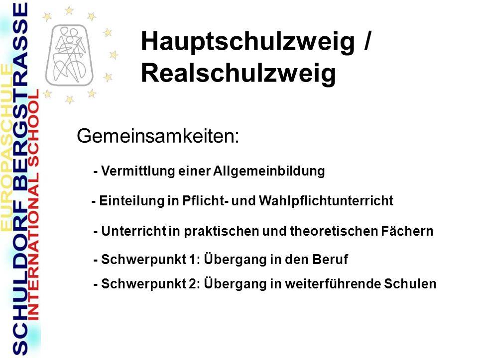 Hauptschulzweig / Realschulzweig Gemeinsamkeiten: