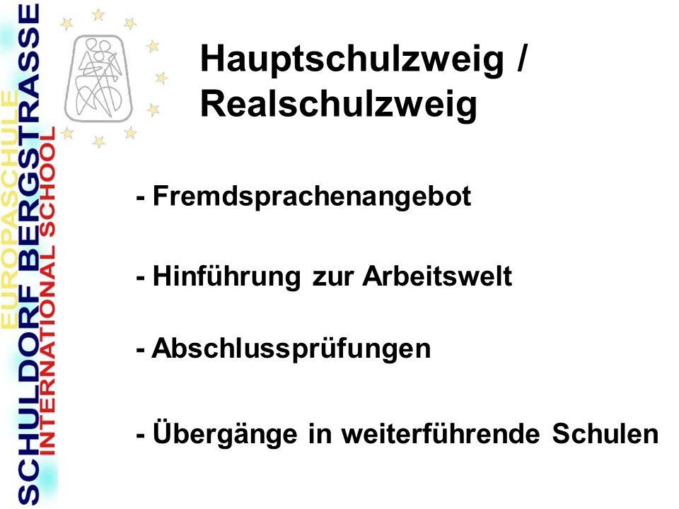 Hauptschulzweig / Realschulzweig - Fremdsprachenangebot