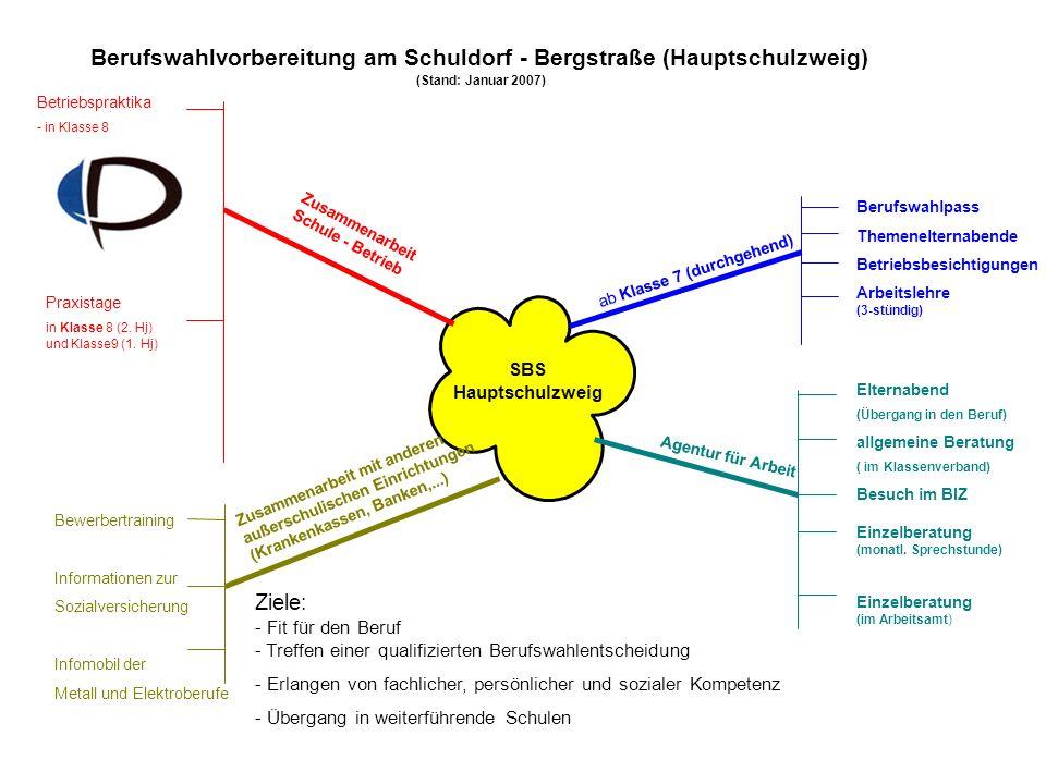 Berufswahlvorbereitung am Schuldorf - Bergstraße (Hauptschulzweig)