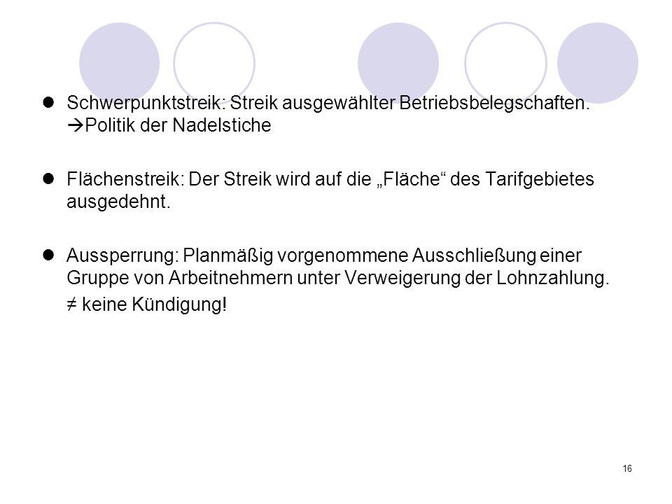 Schwerpunktstreik: Streik ausgewählter Betriebsbelegschaften