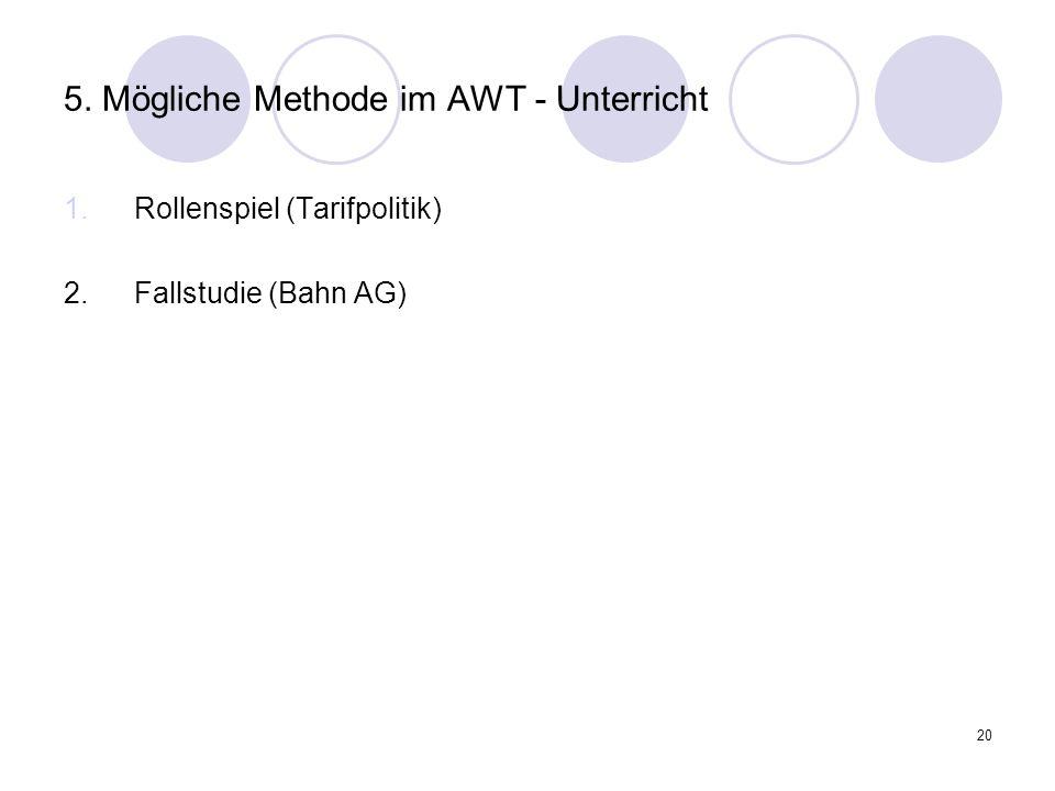 5. Mögliche Methode im AWT - Unterricht