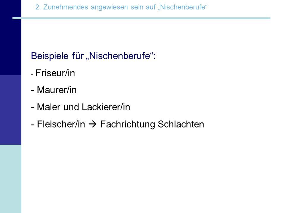 """Beispiele für """"Nischenberufe :"""