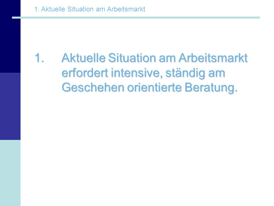 1. Aktuelle Situation am Arbeitsmarkt