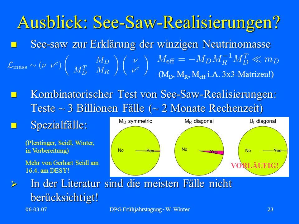 Ausblick: See-Saw-Realisierungen