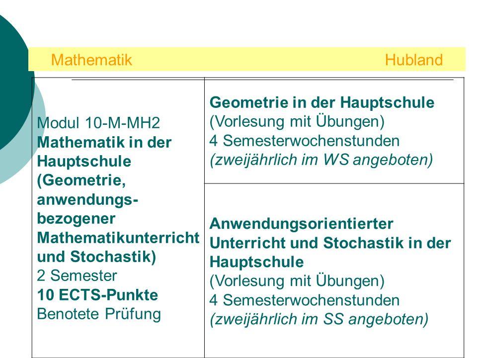 Mathematik Hubland Modul 10-M-MH2. Mathematik in der Hauptschule (Geometrie, anwendungs-bezogener Mathematikunterricht und Stochastik)
