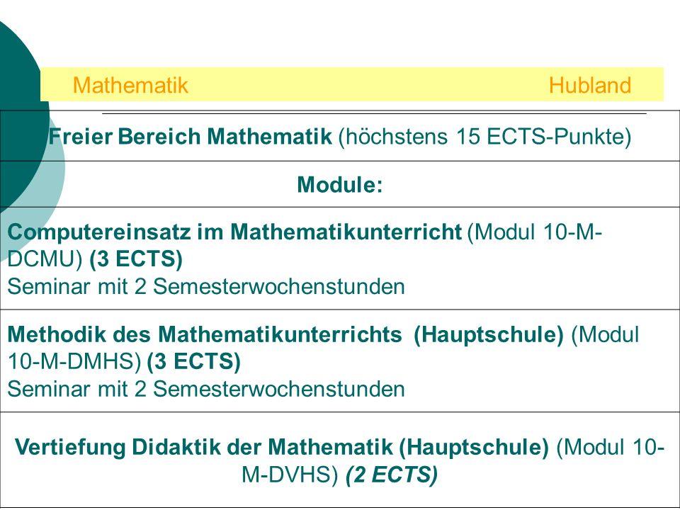 Freier Bereich Mathematik (höchstens 15 ECTS-Punkte)