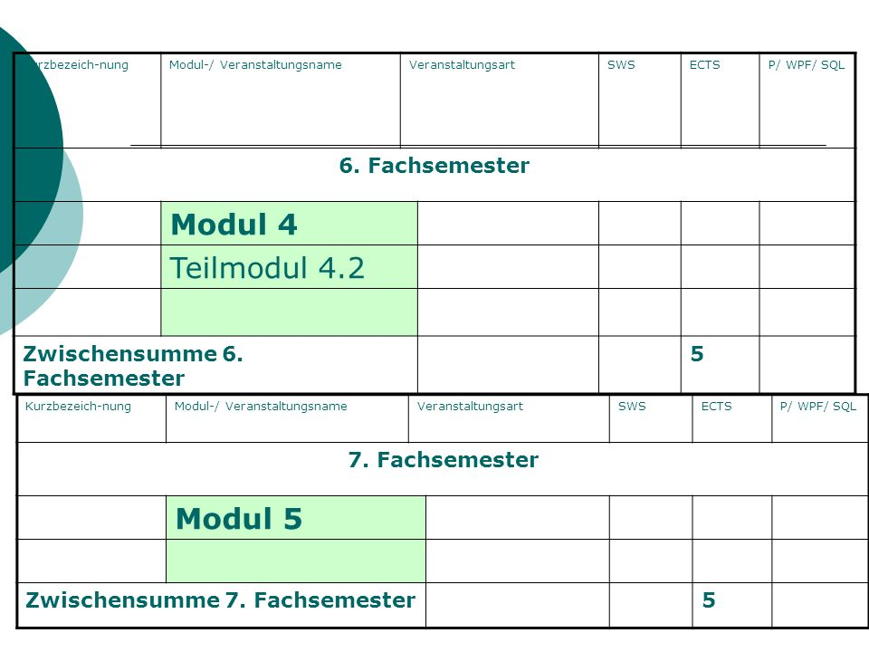 Modul 4 Teilmodul 4.2 Modul 5 6. Fachsemester