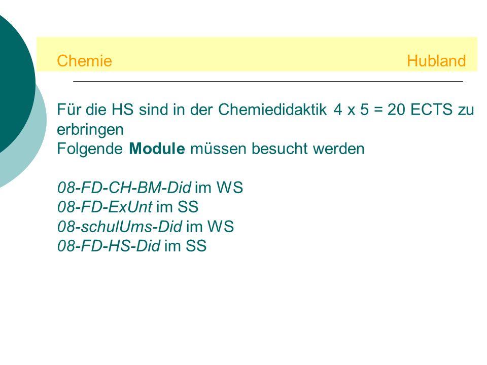 Chemie Hubland Für die HS sind in der Chemiedidaktik 4 x 5 = 20 ECTS zu erbringen. Folgende Module müssen besucht werden.