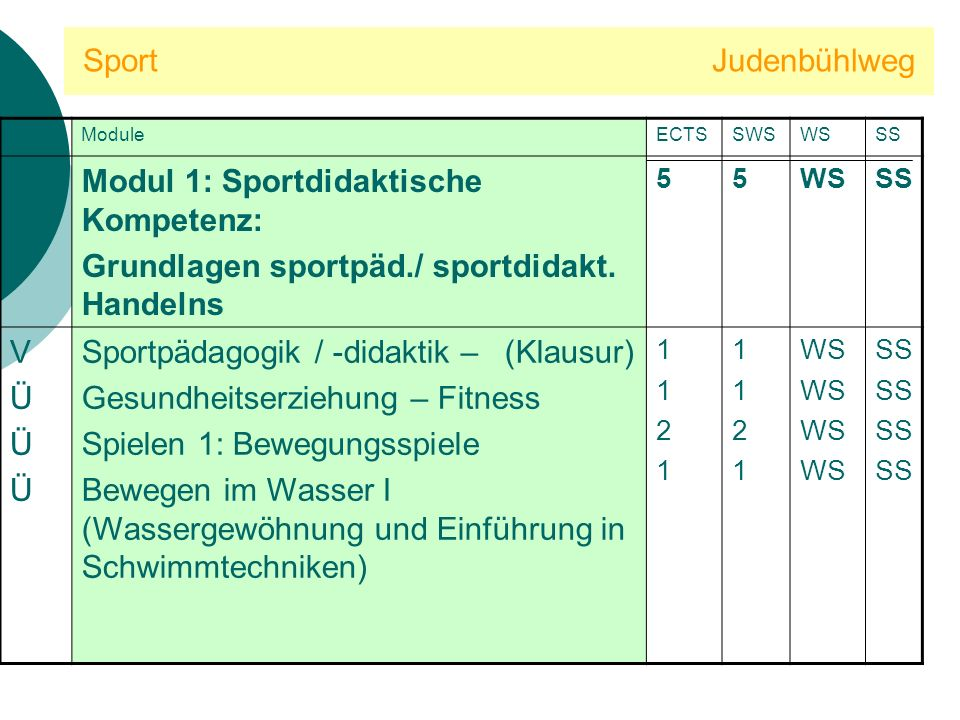 Sport Judenbühlweg Modul 1: Sportdidaktische Kompetenz: