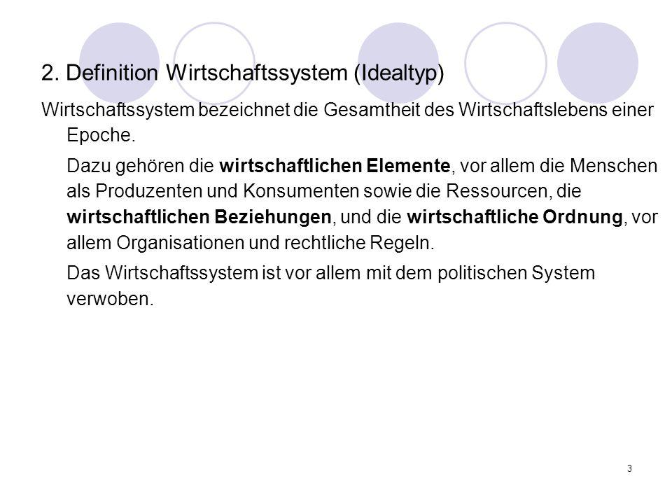 2. Definition Wirtschaftssystem (Idealtyp)