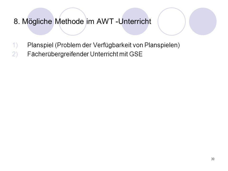 8. Mögliche Methode im AWT -Unterricht