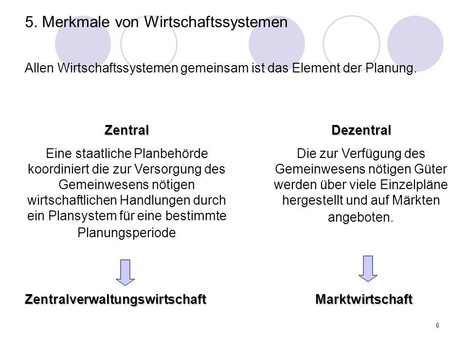 5. Merkmale von Wirtschaftssystemen