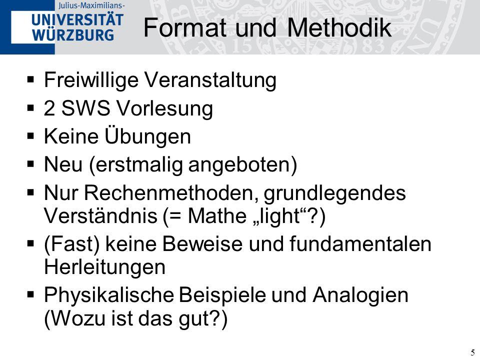 Format und Methodik Freiwillige Veranstaltung 2 SWS Vorlesung