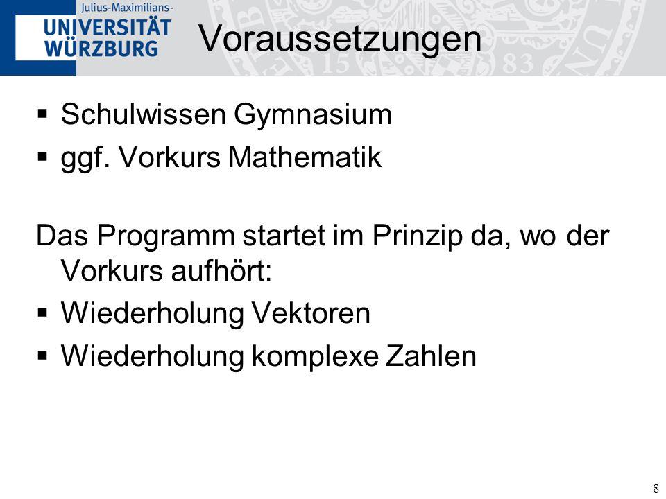 Voraussetzungen Schulwissen Gymnasium ggf. Vorkurs Mathematik